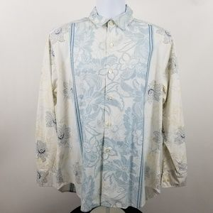 Tommy Bahama Blue Floral Cotton Silk Casual Shirt